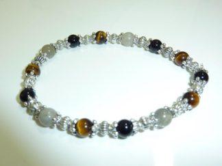 Bracelet Oeil de tigre-Labradorite-Tourmaline noire-protection extrème
