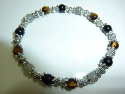 Bracelet Oeil de tigre-Labradorite-Obsidienne oeil celeste - Perles rondes 6 mm