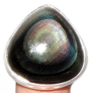 Bague protection obsidienne oeil celeste argent 925 taille 52 3/4 ref 0307