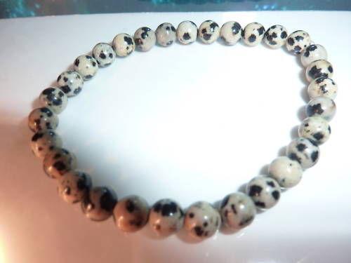 Bracelet en jaspe dalmatien perles rondes 6mm