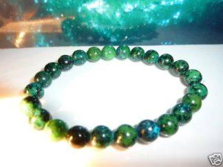 Bracelet azurite chrysocolle perles rondes 8mm