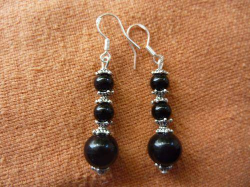Boucles d'oreilles en tourmaline noire Perles 6-10 mm