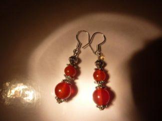 Boucles d'oreilles cornaline perles rondes 8-6mm et argent plaqué