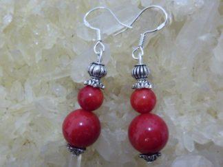 Boucles d'oreilles corail rouge perles rondes 10-6 mm