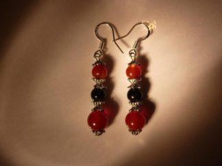 Boucles d'oreilles cornaline tourmaline noire perles rondes 8-6 mm