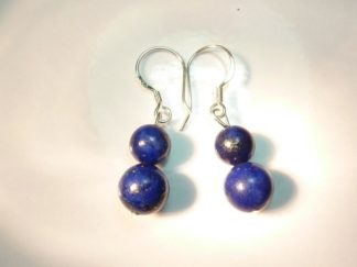 Boucles d'oreilles lapis lazuli-Perles rondes 8-6 mm