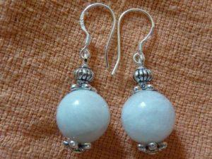 Boucles d'oreilles pierre de lune : perles rondes 12 mm