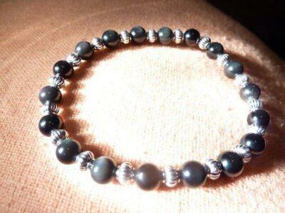 Bracelet Obsidienne oeil céleste – perles rondes de 6 mm