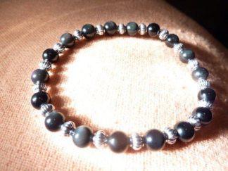 Bracelet Obsidienne oeil celeste – perles rondes de 6 mm