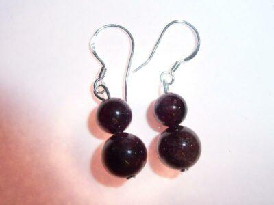 Boucles d'oreilles grenat almandin perles rondes 8-6mm