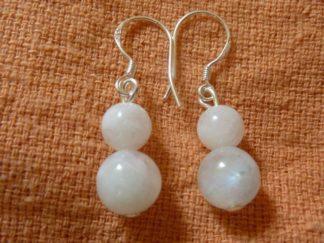 Boucles d'oreilles pierre de lune perles rondes 8-6mm argent 925