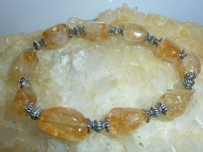 Bracelet citrine perles multiformes et plaqué argent