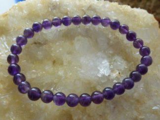 Bracelet amethyste d'uruguay perles rondes 6 mm