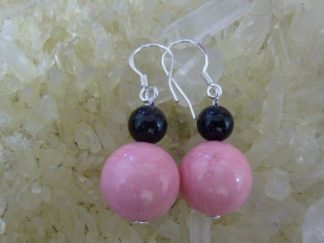 Boucles d'oreilles corail rose tourmaline noire perles rondes 12-6mm argent 925