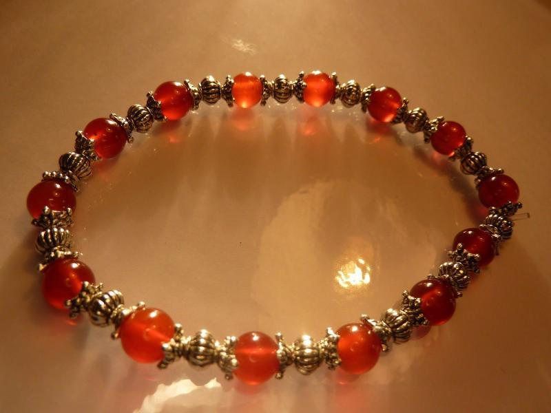 Bracelet cornaline perles rondes 6mm et plaqué argent