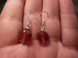 Boucles d'oreilles cornaline perles rondes facettés 10mm