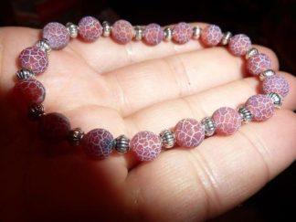 Bracelet Agate veine de dragon - perles rondes 7 mm