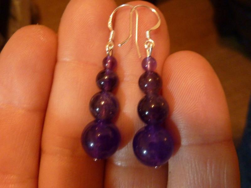 Boucles d'oreilles en pierres naturelles amethyste perles rondes 10-8-6-4mm