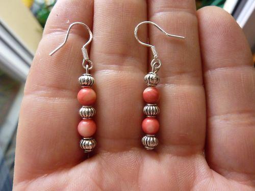 Boucles d'oreilles corail rose saumon perles rondes 5 mm