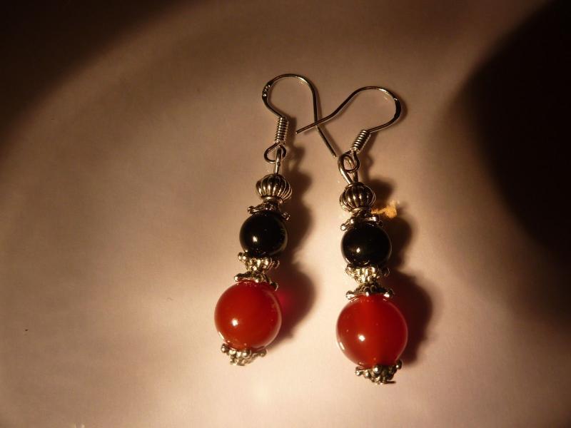 Boucles d'oreilles cornaline tourmaline noire perles rondes 8-6mm et plaqué argent