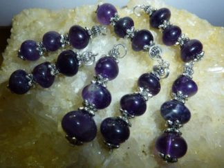 Pendentif en pierres naturelles amethyste perles multiformes