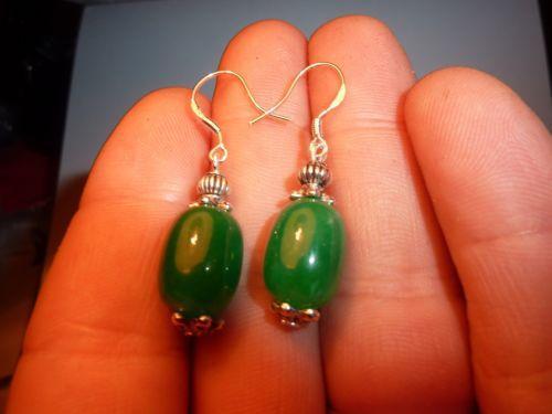 Boucles d'oreilles jade vert perles 14 x 10 mm
