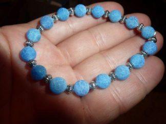 Bracelet Agate veine de dragon bleu - Perles rondes 7 mm