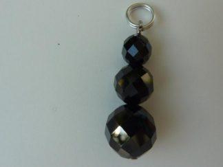 Pendentif protection en spinelle noir perles rondes a facettes 10-8-6mm