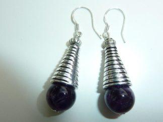 Boucles d'oreilles en pierres naturelles amethyste perles rondes 10mm