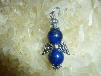 Pendentif ange lapis lazuli perles rondes 8 mm