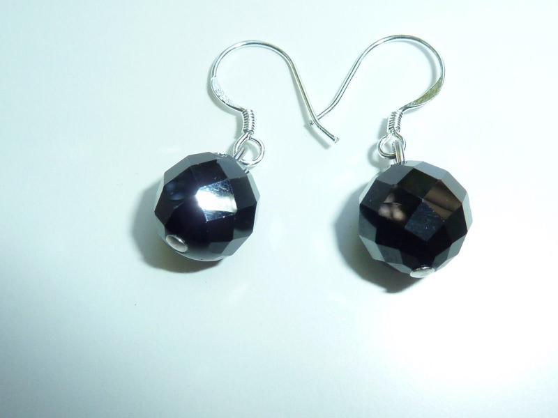 Boucles d'oreilles en spinelle noir qualité AA perles rondes à facettes 10mm