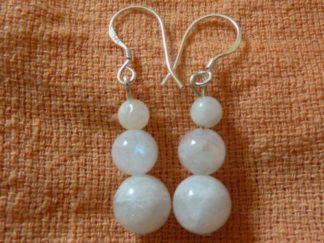 Boucles d'oreilles pierre de lune perles rondes 8-6-4mm