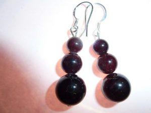 Boucles d'oreilles grenat almandin perles rondes 10-8-6mm