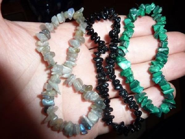 Lot bracelets Malachite Labradorite tourmaline noire perles multiformes 6-10mm