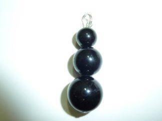 Pendentif tourmaline noire perles rondes 14-12-10 mm