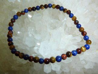 Bracelet protection Oeil de tigre Taureau Lapis lazuli perles rondes 4mm