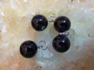Pendentif protection en spinelle noir perle ronde 10mm