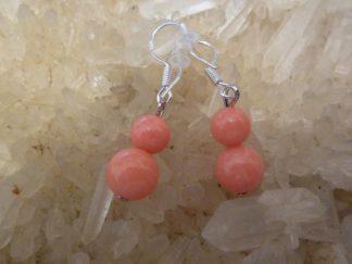 Boucles d'oreilles corail rose perles rondes 8-6 mm