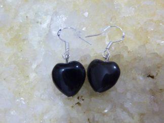 Boucles d'oreilles coeur d'Obsidienne oeil celeste