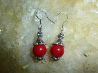 Boucles d'oreilles corail rouge perles rondes 9 mm