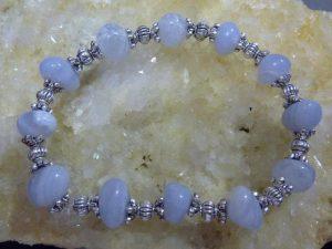 Bracelet Calcedoine Bleue Et Perles En Plaqué Argent