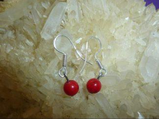 Boucles d'oreilles corail rouge perles rondes 5 mm