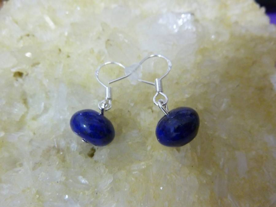 Boucles d'oreilles Lapis lazuli 7 mm x 1 cm