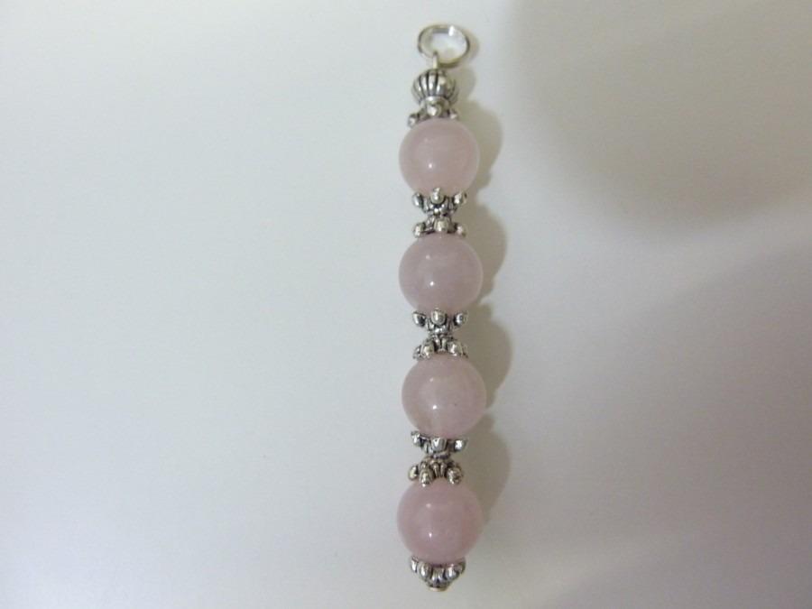 Pendentif quiétude-douceur en quartz rose perles 8mm