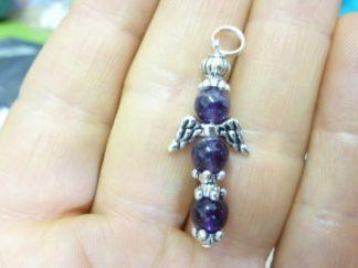 Pendentif Ange croix en Améthyste perles 6mm