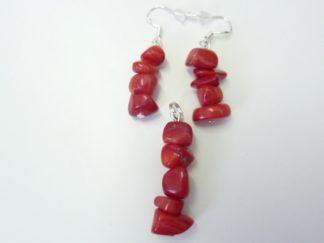 BOUCLES D'OREILLES +PENDENTIF CORAIL ROUGE perles 8-10 mm