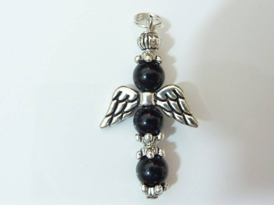 Pendentif obsidienne oeil céleste ange croix protection