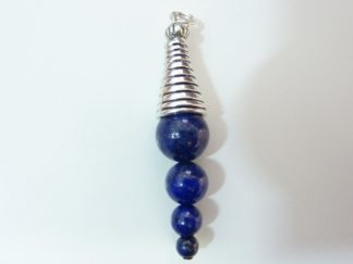 Pendentif lapis lazuli perles 10-8-6-4 mm cone plaqué argent