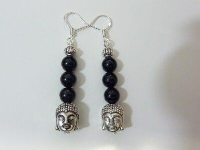 Boucles d'oreilles Tourmaline noir - Bouddha