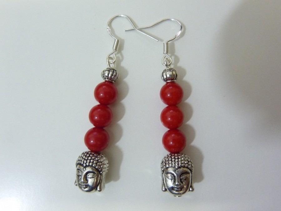 Boucles d'oreilles Bouddha Corail